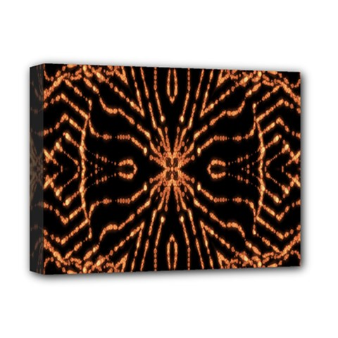 Golden Fire Pattern Polygon Space Deluxe Canvas 16  X 12