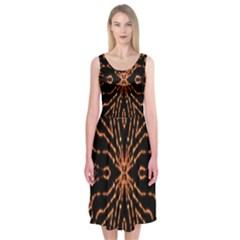 Golden Fire Pattern Polygon Space Midi Sleeveless Dress