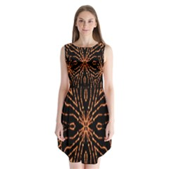 Golden Fire Pattern Polygon Space Sleeveless Chiffon Dress