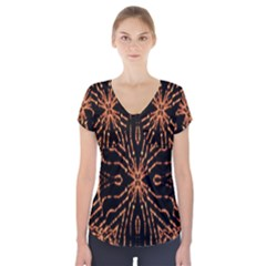 Golden Fire Pattern Polygon Space Short Sleeve Front Detail Top
