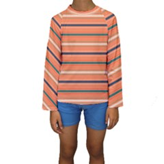 Horizontal Line Orange Kids  Long Sleeve Swimwear