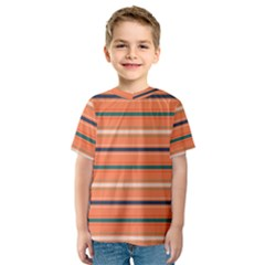 Horizontal Line Orange Kids  Sport Mesh Tee