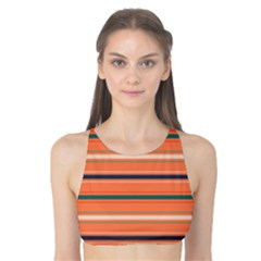 Horizontal Line Orange Tank Bikini Top