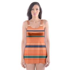 Horizontal Line Orange Skater Dress Swimsuit