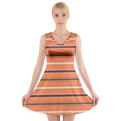 Horizontal Line Orange V Neck Sleeveless Skater Dress