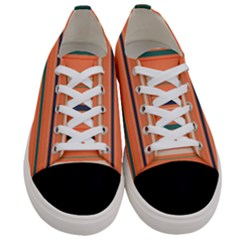 Horizontal Line Orange Women s Low Top Canvas Sneakers