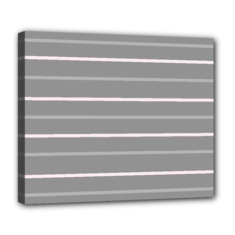 Horizontal Line Grey Pink Deluxe Canvas 24  X 20