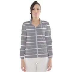 Horizontal Line Grey Pink Wind Breaker (women)