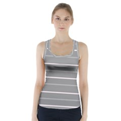 Horizontal Line Grey Pink Racer Back Sports Top