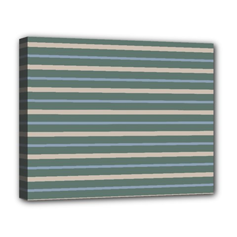 Horizontal Line Grey Blue Deluxe Canvas 20  X 16