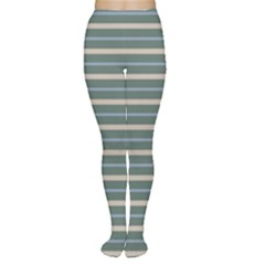 Horizontal Line Grey Blue Women s Tights