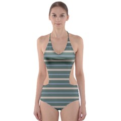 Horizontal Line Grey Blue Cut Out One Piece Swimsuit
