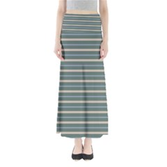 Horizontal Line Grey Blue Full Length Maxi Skirt