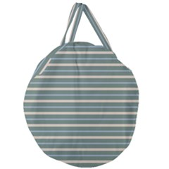 Horizontal Line Grey Blue Giant Round Zipper Tote