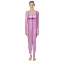 Line Pink Vertical Long Sleeve Catsuit