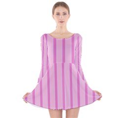 Line Pink Vertical Long Sleeve Velvet Skater Dress