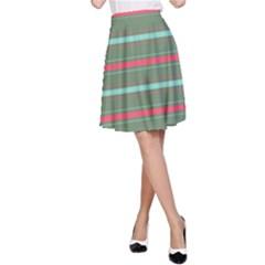 Horizontal Line Red Green A Line Skirt
