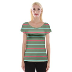 Horizontal Line Red Green Cap Sleeve Tops