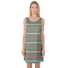 Horizontal Line Red Green Sleeveless Satin Nightdress