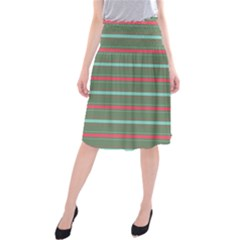 Horizontal Line Red Green Midi Beach Skirt
