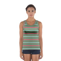 Horizontal Line Red Green Sport Tank Top
