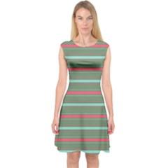 Horizontal Line Red Green Capsleeve Midi Dress