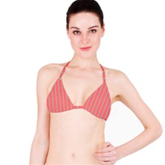 Line Red Grey Vertical Bikini Top