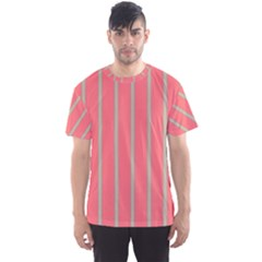 Line Red Grey Vertical Men s Sports Mesh Tee