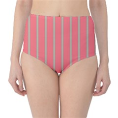 Line Red Grey Vertical High Waist Bikini Bottoms