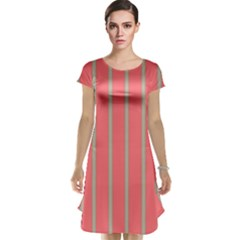 Line Red Grey Vertical Cap Sleeve Nightdress