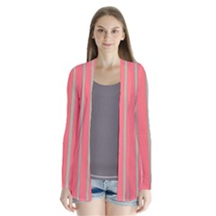 Line Red Grey Vertical Drape Collar Cardigan