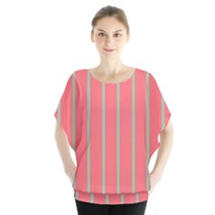 Line Red Grey Vertical Blouse