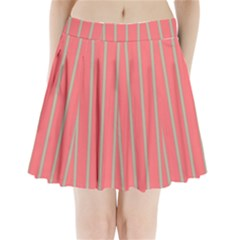 Line Red Grey Vertical Pleated Mini Skirt