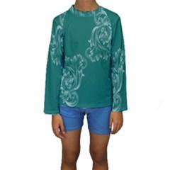 Leaf Green Blue Sexy Kids  Long Sleeve Swimwear