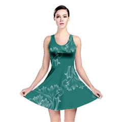 Leaf Green Blue Sexy Reversible Skater Dress