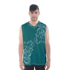 Leaf Green Blue Sexy Men s Basketball Tank Top