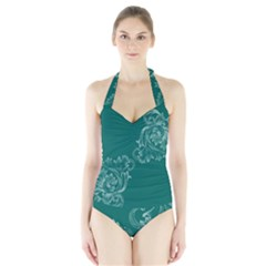 Leaf Green Blue Sexy Halter Swimsuit