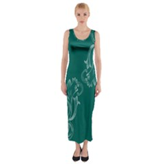 Leaf Green Blue Sexy Fitted Maxi Dress