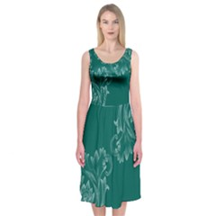 Leaf Green Blue Sexy Midi Sleeveless Dress