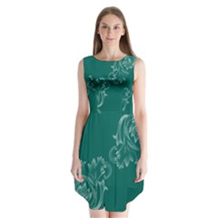 Leaf Green Blue Sexy Sleeveless Chiffon Dress
