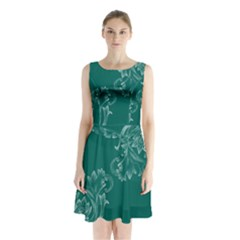 Leaf Green Blue Sexy Sleeveless Waist Tie Chiffon Dress