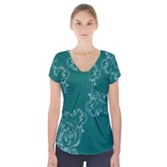 Leaf Green Blue Sexy Short Sleeve Front Detail Top