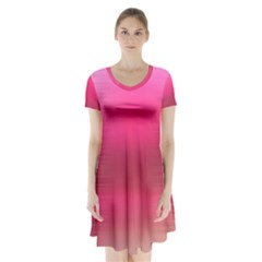 Line Pink Space Sexy Rainbow Short Sleeve V Neck Flare Dress