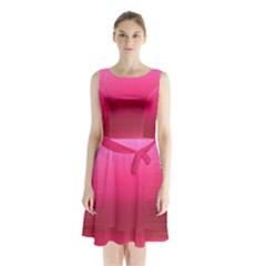 Line Pink Space Sexy Rainbow Sleeveless Waist Tie Chiffon Dress