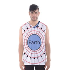 Magnetik Earth s Gravitational Line Triangle Men s Basketball Tank Top