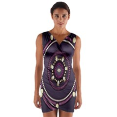 Mandalarium Hires Hand Eye Purple Wrap Front Bodycon Dress