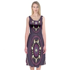 Mandalarium Hires Hand Eye Purple Midi Sleeveless Dress