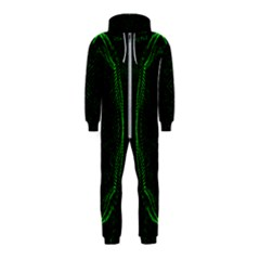 Green Foam Waves Polygon Animation Kaleida Motion Hooded Jumpsuit (kids)
