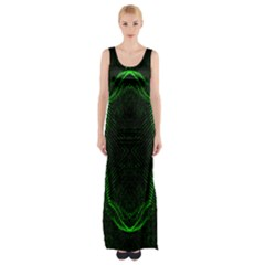 Green Foam Waves Polygon Animation Kaleida Motion Maxi Thigh Split Dress