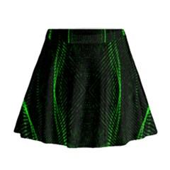 Green Foam Waves Polygon Animation Kaleida Motion Mini Flare Skirt